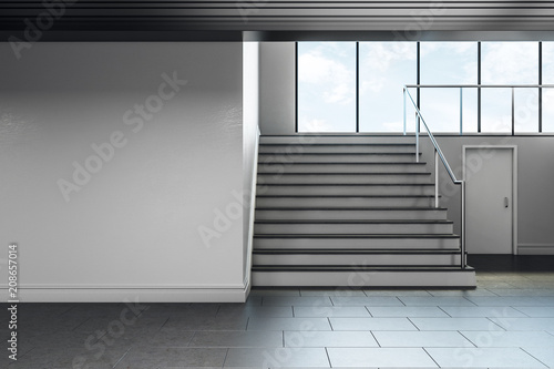 Canvas Minimalistic school hallway interior with copyspace