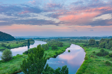 Panel Szklany Podświetlane Do biura Poland landscape - Wisla river valley in the morning