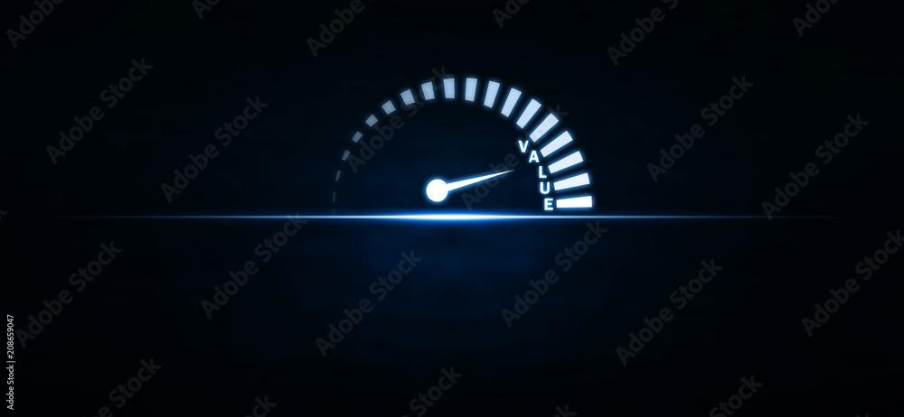 Fototapeta Speedometer with value word on blue light. Business concept
