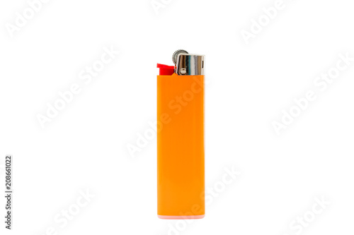 Photo Orange lighter isolated on white background, with clipping path