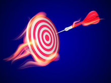 Red Darts With Red Javelin In Flame. Target Concept. Vector Illustration.