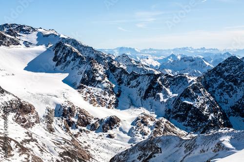 Spoed Foto op Canvas Alpen Beautiful view of the Alps mountains, Austria, Stubai