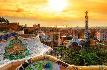 Pogled na grad iz parka Guell u Barceloni, Španjolska