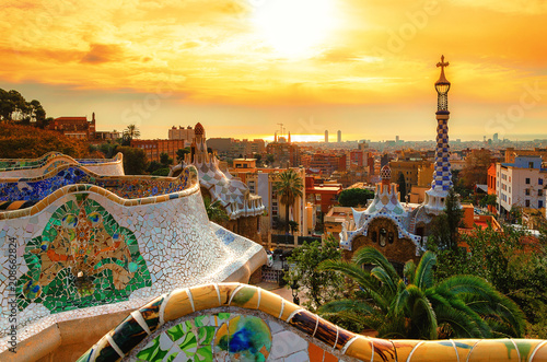 View of the city from Park Guell in Barcelona, Spain Wallpaper Mural