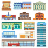 Fototapeta Miasto - Building facade of cityscape with skyscrapers vector newbuild mall and business officebuilding or apartments architectural city bank, cinema, club, restaurant and cafe, theater, hotel illustration