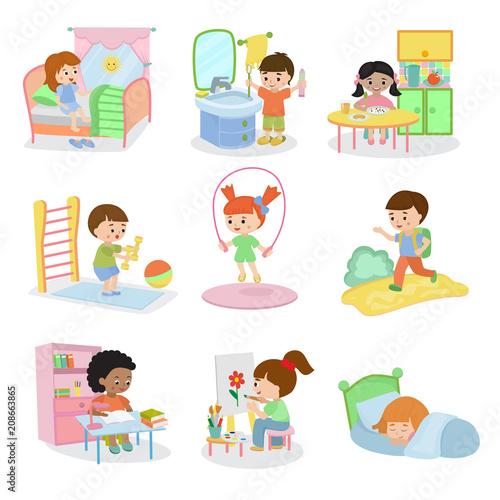 Kids everyday activities set children daily activity routine in childhood charac Fototapet