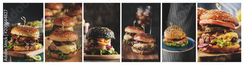 Fotografie, Tablou A collage of Home burgers in a rustic style