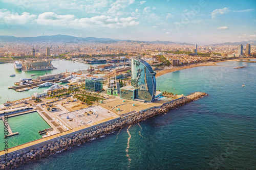 fototapeta na drzwi i meble Barcelona aerial, city skyline panorama and the beach, Spain