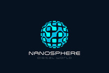 Nanotechnology Molecular DNA Electronics Sphere Logo Vector Icon