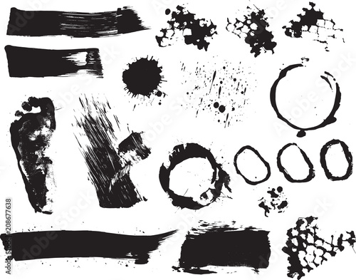 In de dag Cartoon draw Brush strokes and Paint Splatters Vector set