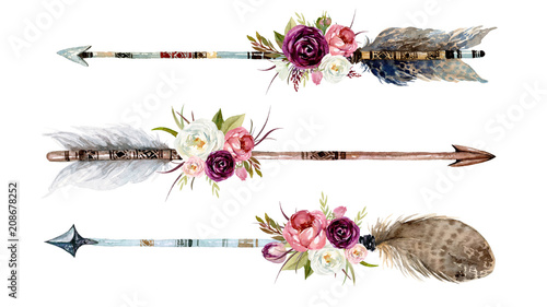 Foto  Watercolor ethnic boho set of arrows, feathers and flowers, native american tribe decoration print element, tribal navajo isolated illustration bohemian ornament, Indian, Peru, Aztec wrapping