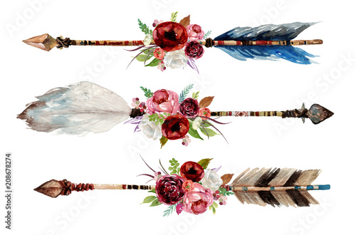 Watercolor ethnic boho set of arrows, feathers and flowers, native american tribe decoration print