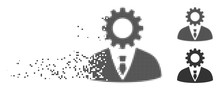 Gray Vector Soulless Official Bureaucrat Icon In Dispersed, Dotted Halftone And Undamaged Solid Variants. Rectangle Dots Are Used For Disintegration Effect.