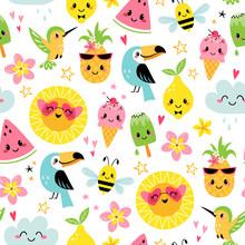 Seamless Pattern Of Cute Summe...