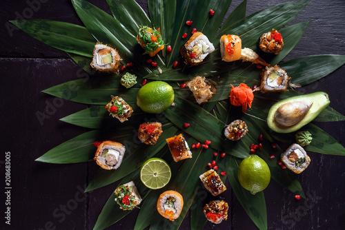 Foto  sushi on black background
