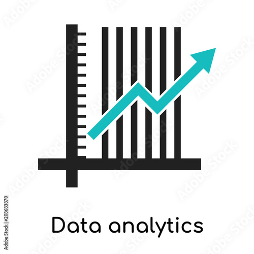 Photo Data analytics ascending line chart icon vector sign and symbol isolated on whit