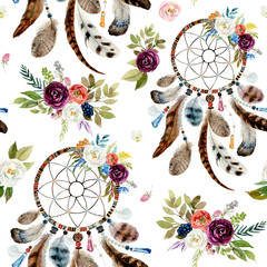 Seamless watercolor ethnic boho floral pattern - dreamcatchers and flowers on...
