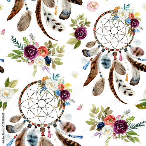 Seamless Watercolor Ethnic Boho Floral Pattern