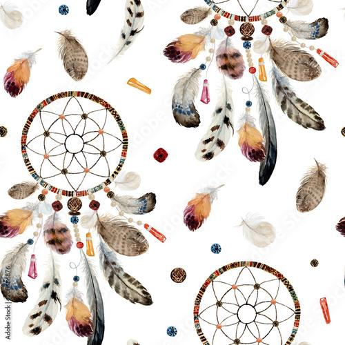 bezszwowy-akwarela-boho-etniczny-wzor-wymarzeni-lapacze-i-piorka-na-bialym-tle-rodowitego-amerykanina-plemienia-dekoraci-druku-element-odosobniony-ilustracyjny-czeski-ornament-indianin-peru-aztek
