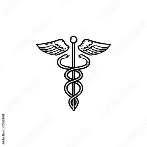 Caduceus Medical Symbol Hand Drawn Outline Doodle Icon Medical