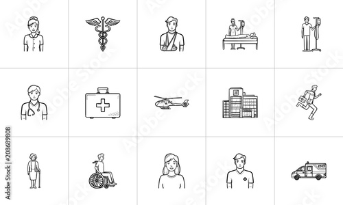 Fotobehang Sportwinkel Medicine hand drawn outline doodle icon set for print, web, mobile and infographics. Healthcare, traumatology, emergency help and nursery vector sketch illustration set isolated on white background.