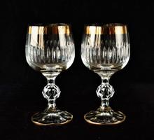 2 Kristallgäser Mit Goldrand - Weingläser