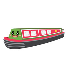 Narrowboat Transportation Cartoon Character Perspective View Isolated On White Background Vector Illustration.