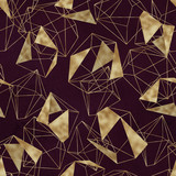 Seamless geometric pattern on maroon / burgundy background. Abstract gold polygonal geometric shapes / crystals, golden glitter triangles, geometric, diamond shapes. - 208694221