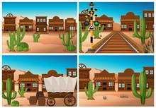 Set Of Wild West Town