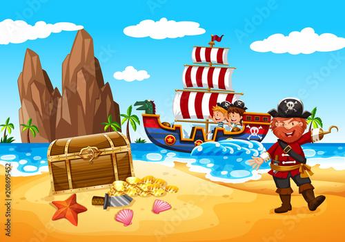 Obraz na plátně Happy Pirate and Kids