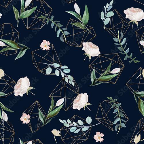 uklad-kwiaty-i-liscie-na-tle-marynarki-wojennej-akwarela-recznie-malowane-geometryczny-wzor-zlote-ksztalty-geometryczne-krysztaly