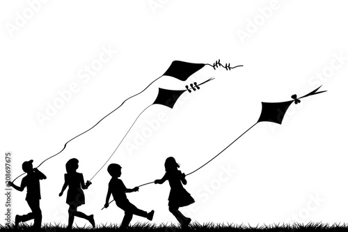 Children playing with kites Canvas Print