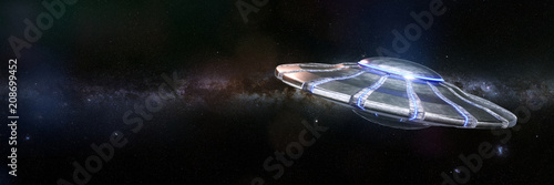 Photo UFO, alien spaceship in outer space, advanced extraterrestrial life with flying