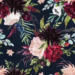 Panel Szklany Na stół i biurko Flowers bouquet arrangement on navy background. Watercolor hand painted seamless pattern. Floral illustration. Fashion foliage. Blush peony, dahlia, rose, anemone, eucalyptus, olive, green leaves.