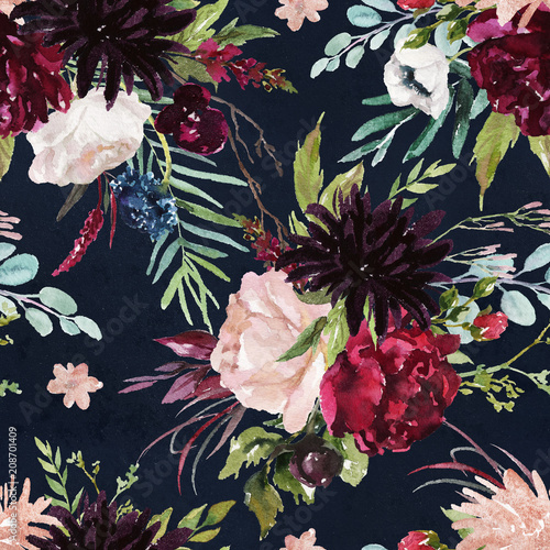 uklad-bukiet-kwiatow-na-tle-marynarki-wojennej-akwarela-recznie-malowany-wzor-ilustracja-kwiatowy-modne-liscie-rozowa-piwonia-dalia-roza-zawilec-eukaliptus-oliwka-zielone-liscie