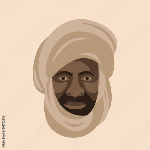 Bedouin  face head vector illustration flat style  front Wallpaper Mural