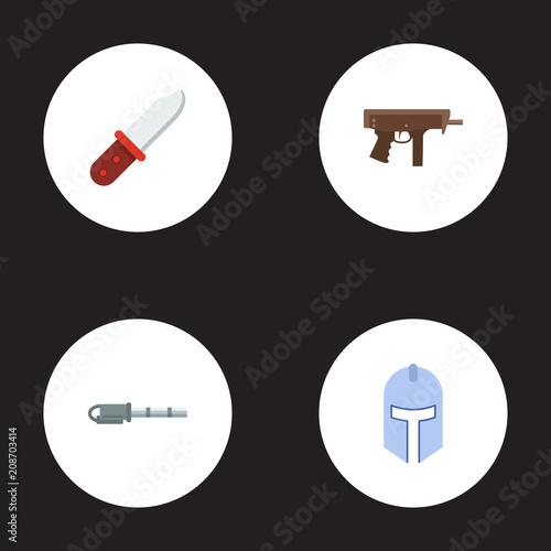 Set Of Game Icons Flat Style Symbols With Submachine Gatling Gun