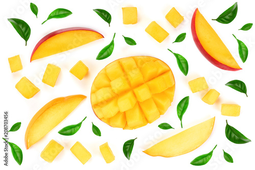 Fototapeta half of Mango fruit decorated with leaves isolated on white background close-up