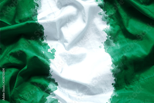 Flag Federal Republic Of Nigeria By Watercolor Paint Brush On Canvas Fabric Grunge Style
