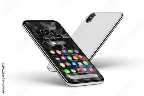 Perspective white smartphones with material design flat UI interface front side Wallpaper Mural