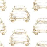 Ręcznie rysowane akwarela bezszwowe wzór / tło. Ślubna romantyczna ilustracja na białym tle - rocznika kabrioletu złocisty retro samochód. - 208706076