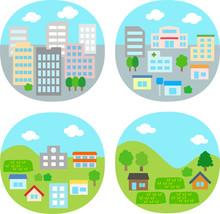 都市、住宅街、農村のイラストセット
