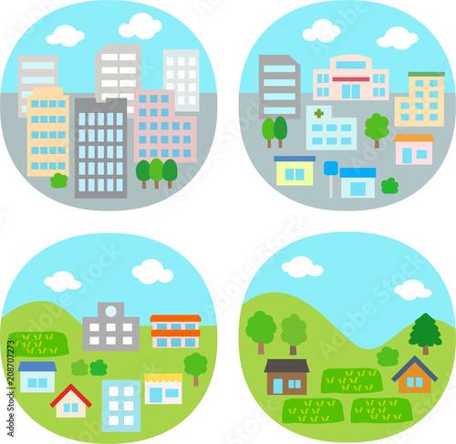 都市住宅街農村のイラストセット Adobe Stock でこのストック