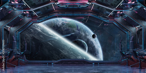 Fototapety, obrazy: Grunge Spaceship interior with view on planet Earth 3D rendering
