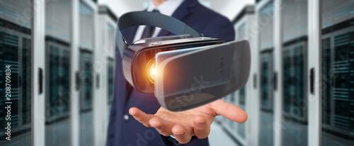 Staande foto Vlees Businessman using virtual reality glasses technology 3D rendering