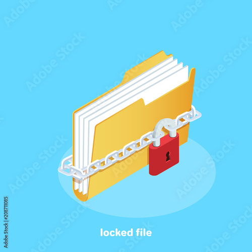 Photo icon of a folder with documents wrapped in a chain and fastened with a lock, iso