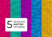 Set Of Seamless Knitted Patterns In Bright Modern Colors. Colorful Realistic Knitted Textures For The Background Of The Site, Postcards, Wallpapers, Invitations, Banners. Vector Illustration.