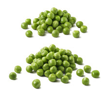 Green Peas Pile Set Isolated On White Background