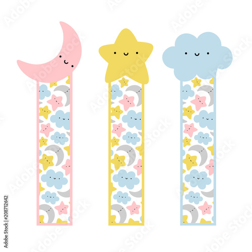 picture about Cute Printable Bookmarks referred to as Lovely Experience Moon, Star and Cloud Bookmarks, Printable Sky