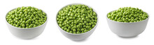 Green Peas In White Bowl Set Isolated On White Background